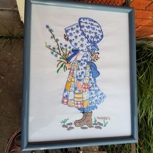 Vintage Holly Hobbie Crewel Embroidered Picture